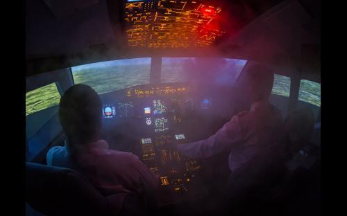 Flugsimulator A320 in Aachen - Feuer-Simulation