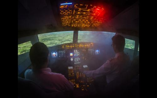 Flugsimulator A320 in Aachen - Rauch im Cockpit